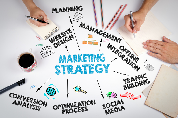 Marketing Strategy Business concept. The meeting at the white office table